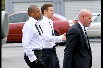 """BTS Photos: Justin Timberlake & Jay-Z On The Set Of """"Suit & Tie"""""""