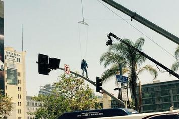 "Kendrick Lamar Continues To Film ""Alright"" Video In Los Angeles"