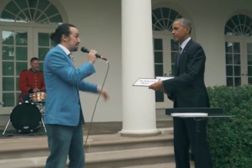 "Watch ""Hamilton"" Star Freestyle With President Obama"