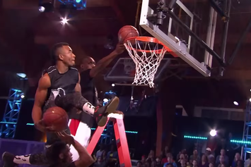 """""""The Dunk King"""" Contestant Throws Down Two Dunks At The Same Time"""