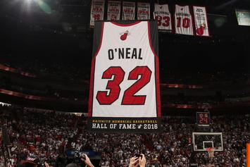 Miami Heat Gift Shaq A Mini Semi-Truck During Jersey Retirement Ceremony