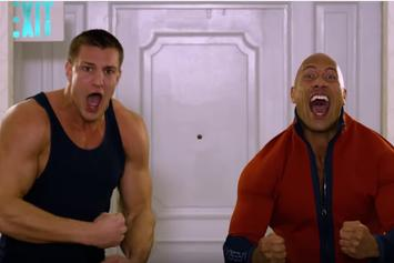 The Rock Celebrates With Rob Gronkowski In Hilarious Baywatch Promo