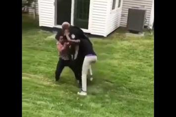 This Security Guard Is Really Struggling To Break Up A Fight
