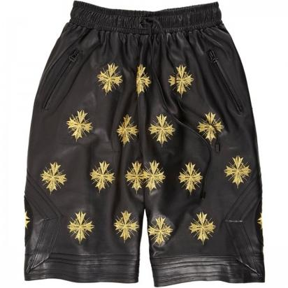 En Noir Embroidered Leather Boxing Shorts- $2,590