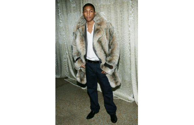 Pharrell in a fur coat