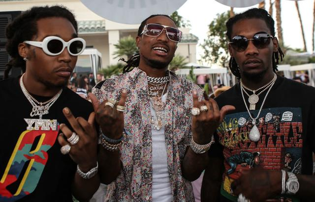 (L-R) Take Off, Quavo and Off Set of the Migos perform at the Revolve Desert house on April 16, 2017 in Palm Springs, California