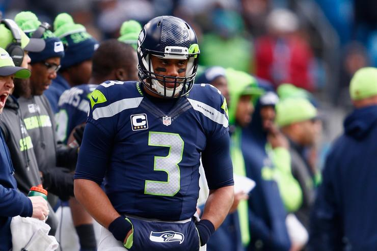 Russell Wilson during Seahawks vs Panthers.