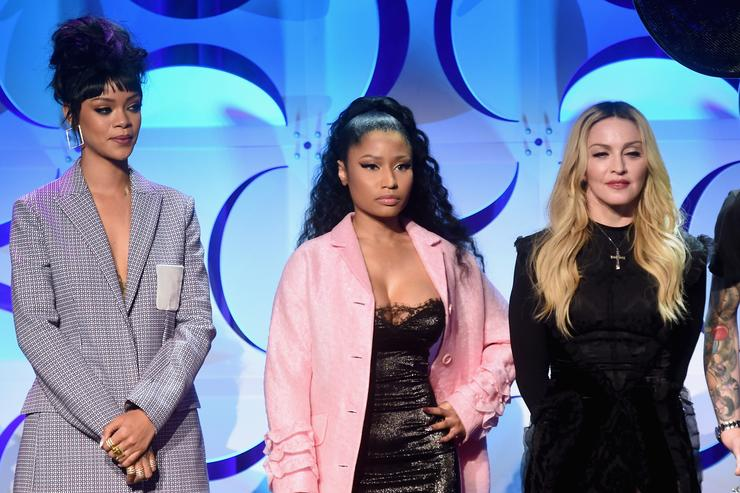 Rihanna, Nicki Minaj, and Madonna onstage at the Tidal launch event #TIDALforALL at Skylight at Moynihan Station on March 30, 2015 in New York City. (