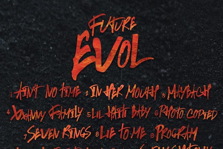 "Tracklist/ back artwork for Future's ""EVOL"" album"