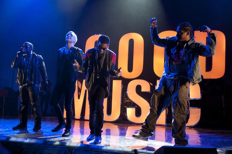 Kanye West, Mr. Hudson, Kid Cudi and Pusha-T perform during VEVO Presents: G.O.O.D. Music at VEVO Power Station on March 19, 2011 in Austin, Texas