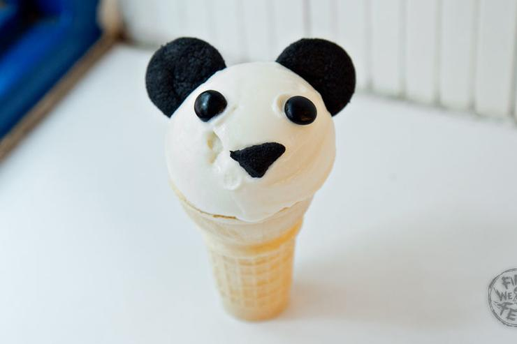 Panda Cone - Coconut ice cream with black coconut-ash cookies.