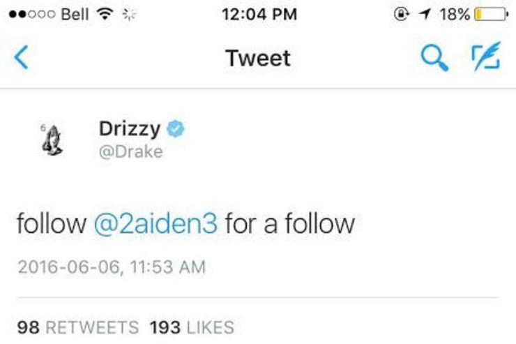 Drake's twitter hack screenshot