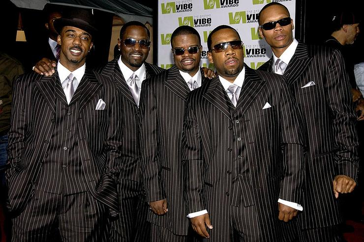 Music group New Edition attends the 2004 Vibe Awards on UPN at Barker Hangar November 15, 2004 in Santa Monica, California.