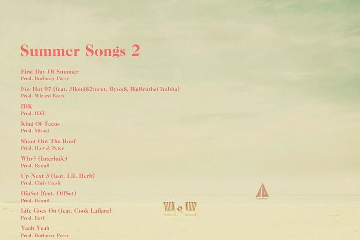"""tracklist/ back cover to """"Summer Songs 2"""""""