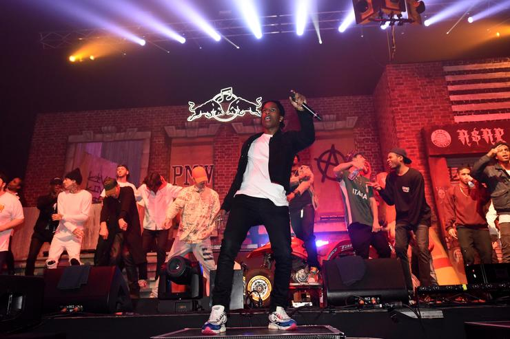 ASAP Rocky backed by ASAP Mob on stage