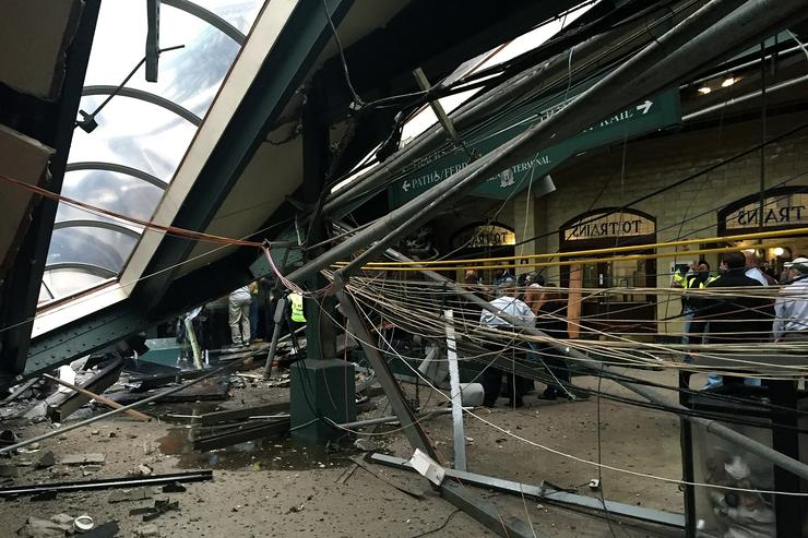train crashes into hoboken station
