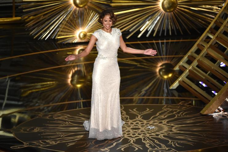 Actress Stacey Dash speaks onstage during the 88th Annual Academy Awards at the Dolby Theatre on February 28, 2016 in Hollywood, California.