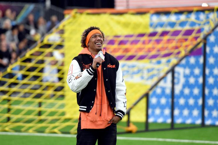 Host Nick Cannon at the taping of Nickelodeon's Superstar Slime Showdown at Super Bowl in Houston, Texas, premiering Sunday, Feb. 5, at 12pm (ET/PT)